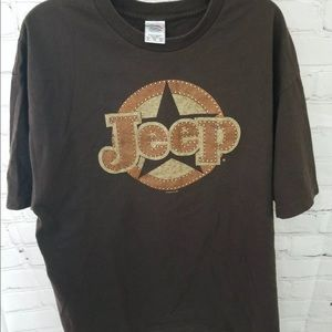 AAA Unisex XL brown Jeep T-Shirt Short Sleeve